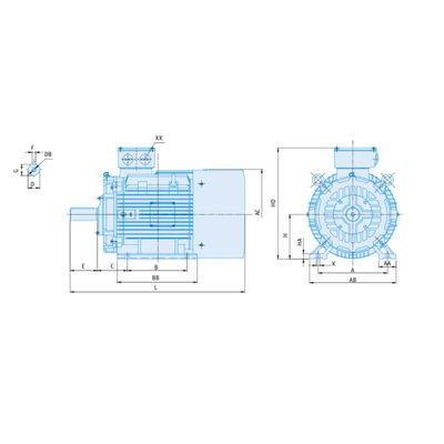 IE1-EG Elektromotor 22 kW, 230/400 Volt 1000 RPM