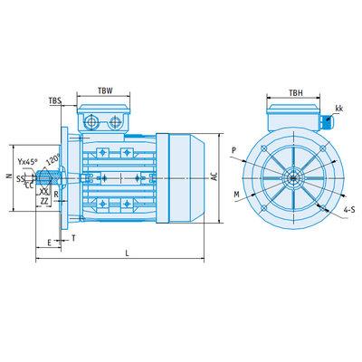 IE1 Elektromotor 0,25 kW, 230/400 Volt 750 RPM