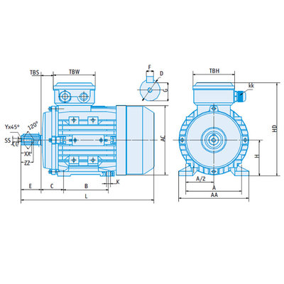 IE1 Elektromotor 2,2 kW, 230/400 Volt 750 RPM
