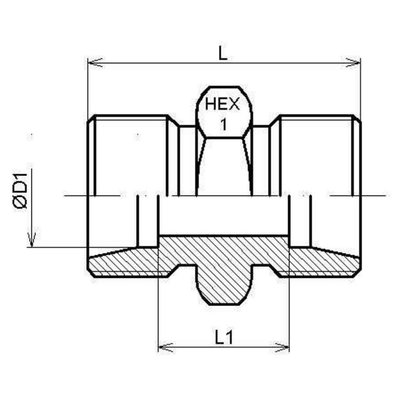 Rechte koppeling 14S (M22x1,5)