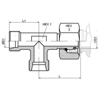 Instelbare T-adapter met o-ring 14S (M22x1,5) (L-uitvoering)