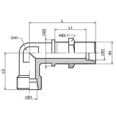 Schotkoppeling haaks 90° 25S(M36x2)