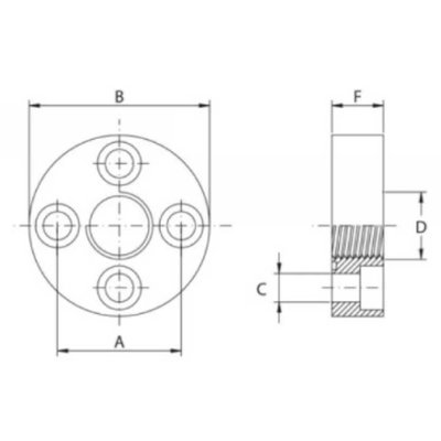 Pompflens recht 4 gaats 3/8'' BSP (30mm)