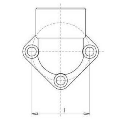 Pompflens haaks, 3 gaats 3/4'' BSP (40mm, gr. 2)