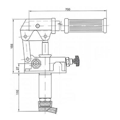 Set: handpomp 25 cc enkelwerkend + 5 liter tank staal