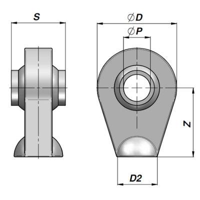 HM1 topstangoog met binnendiameter 19 mm voor cilinder met stang Ø30 mm, breedte 44 mm