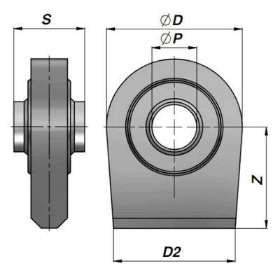 HM1 topstangoog lang met binnendiameter 28,4 mm voor cilinder met boring Ø70 mm, breedte 45 mm
