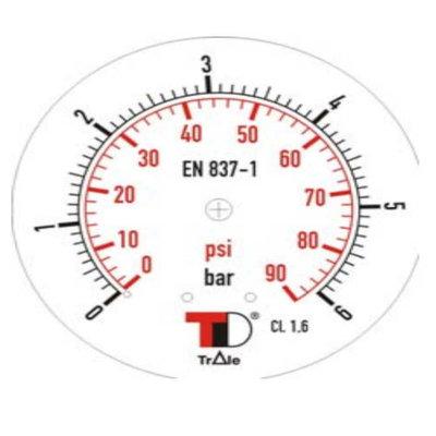 Manometer met achter aansluiting 63 mm, inbouw,  gevuld met glycerine, 1/4