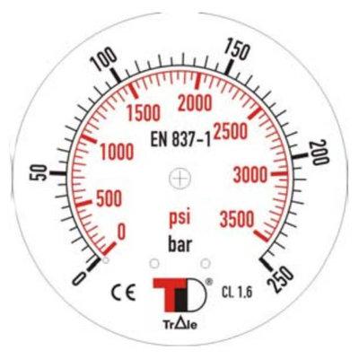 Manometer met onder aansluiting 63 mm, gevuld met glycerine, 1/4