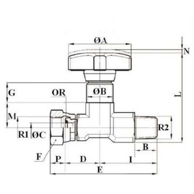 Manometer kraan 1/4'' BSP