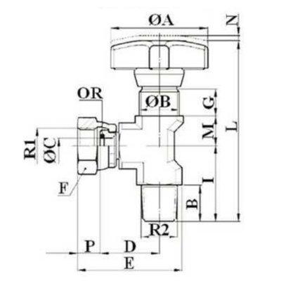 Manometer kraan 1/4'' BSP 90 graden