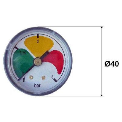 Vuilindicator met achteraansluiting 0-6 bar 1/8'' BSP