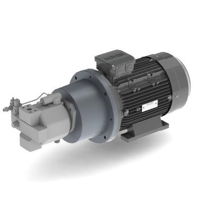 11 kW, 230/400 V, elektromotor met voor gemonteerde plunjerpomp 45 cc (regelbaar)