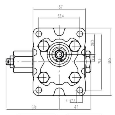 2-traps hydrauliek tandwielpomp 1,6 cc - 6,9 cc, groep 1