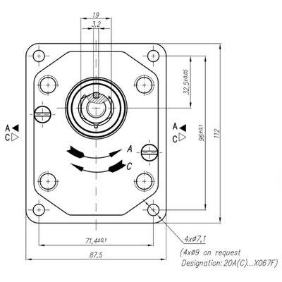 Voorpomp 14 cc tandempomp rechts met 1:8 conische as, pasrand 36,4 mm, groep 20+20