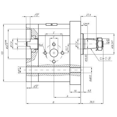 Voorpomp 15 cc tandempomp links met 1:8 conische as, pasrand 36,4 mm, groep 20+20