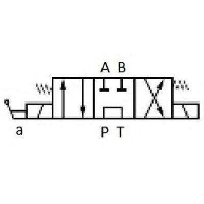 NG6 12V Cetop 4/3 stuurventiel met handbediening, PT verbonden AB gesloten