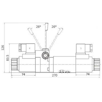 NG6 230V Cetop 4/3 stuurventiel met handbediening, PT verbonden AB gesloten
