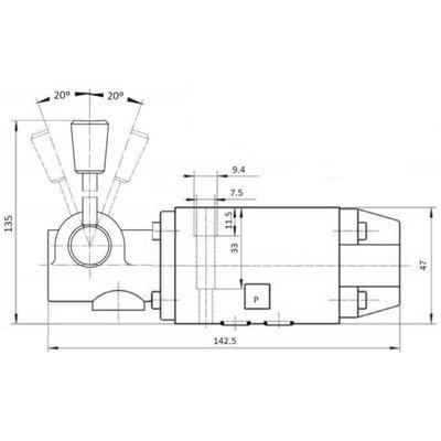 NG6 handbediend Cetop 4/3 stuurventiel, ABT verbonden, P gesloten
