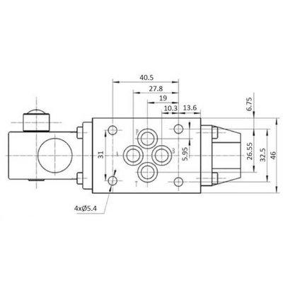 NG6 handbediend Cetop 4/2 stuurventiel, PA verbonden, BT verbonden
