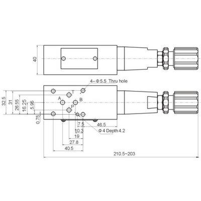 NG6 Hydraulisch overdruk tussenventiel in B 15-350 bar