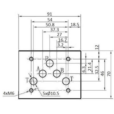 NG10 12V Cetop Elektrisch 4/2 stuurventiel, PA verbonden, BT verbonden