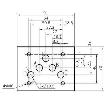 NG10 24V Cetop Elektrisch 4/2 stuurventiel, H-middenstand