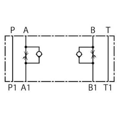 NG6 Tussenblok smoring met terugslagklep in A en B