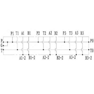 NG6 voetplaat (parallel), 3 voudig met boven- en zij aansluiting