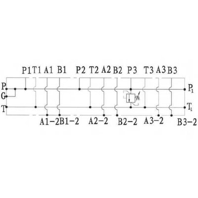 NG6 voetplaat (parallel), 3 voudig, met overdruk en boven- en zij aansluiting