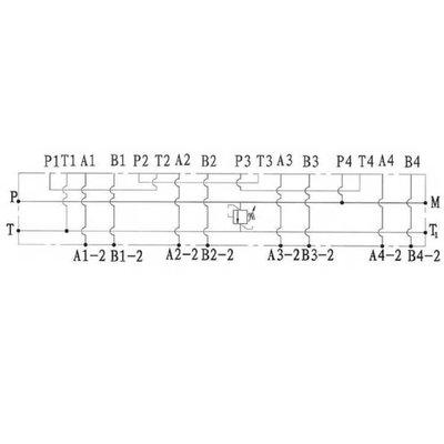 NG6 voetplaat (serie), 4 voudig, met overdruk en boven- en zij aansluiting