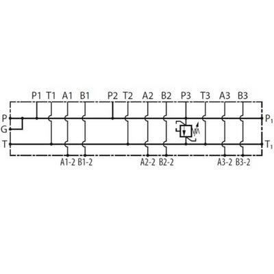 NG10 voetplaat (parallel), 3 voudig, met overdruk en boven- en zij aansluiting