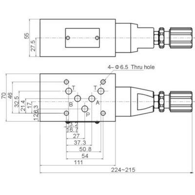 NG10 Hydraulisch overdruk tussenventiel in A 5-100 bar