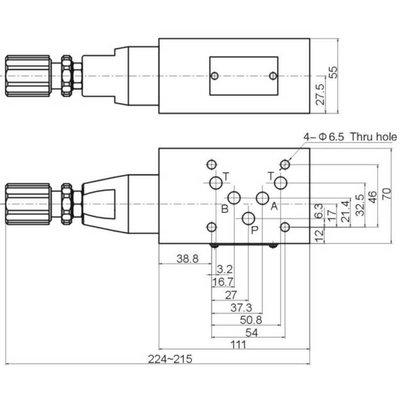 NG10 Hydraulisch overdruk tussenventiel in B 5-100 bar