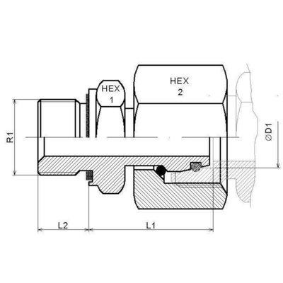 M18x1.5-15L (M22X1,5) male inschroefkoppeling met wartel