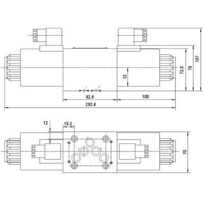 NG10 12V Cetop Elektrisch 4/3 stuurventiel, ABT Verbonden, P Gesloten