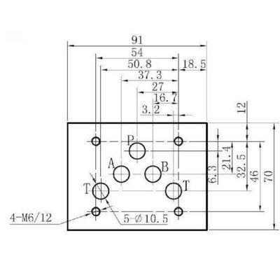 NG10 24V Cetop Elektrisch 4/3 stuurventiel, ABT Verbonden, P Gesloten