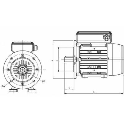 1 fase elektromotor 1,1 kW, 230 Volt 1500 RPM