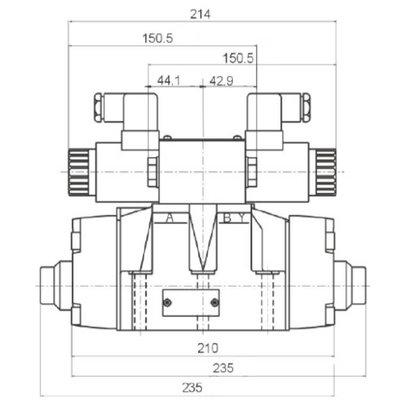 NG16 12V Cetop Elektrisch 4/3 stuurventiel, PT Verbonden AB Gesloten