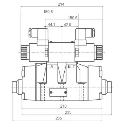 NG16 24V Cetop Elektrisch 4/3 stuurventiel, PT Verbonden AB Gesloten