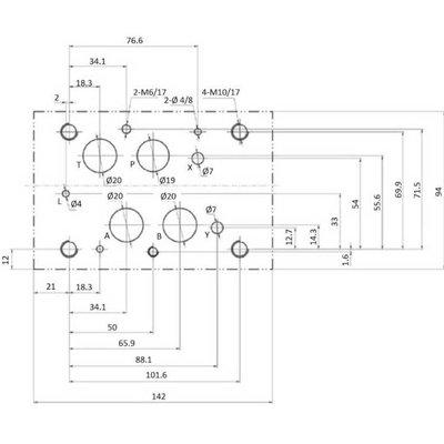 NG16 230V Cetop Elektrisch 4/3 stuurventiel, ABT Verbonden P Gesloten