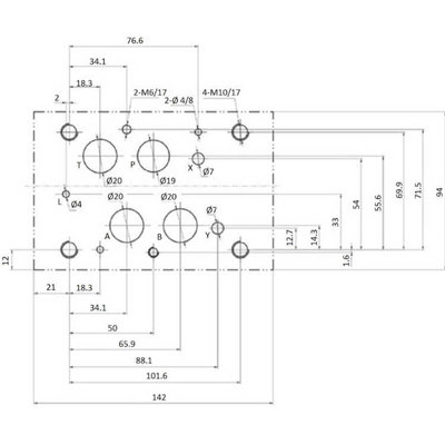 NG16 12V Cetop Elektrisch 4/2 stuurventiel, PA verbonden, BT verbonden