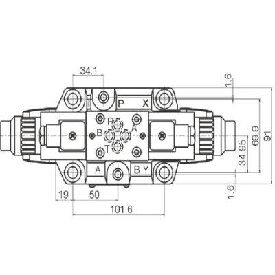 NG16 230V Cetop Elektrisch 4/2 stuurventiel, PA verbonden, BT verbonden