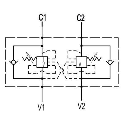 Dubbele hydraulische gestuurde terugslagklep VBCD 1/2