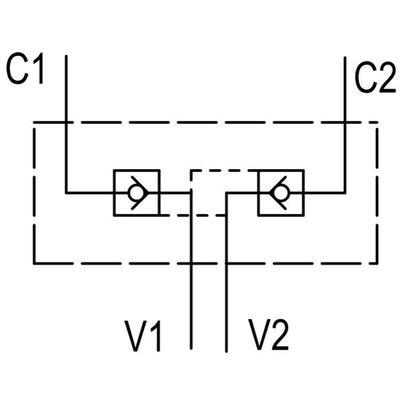 Dubbele hydraulische gestuurde terugslagklep VBPDE 1/2