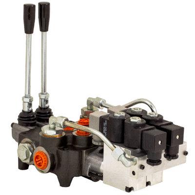 6P80 6 sectie 12V elektrisch- handbediend stuurventiel 80 l/min