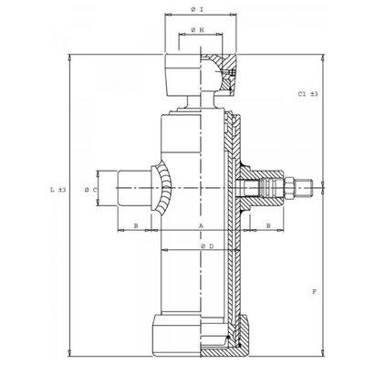3 traps Telescoopcilinder, Ø46-76mm, slag 593mm, 180 bar met kogel