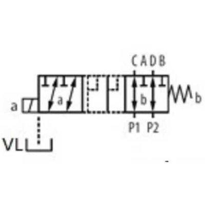 Koppelbaar 6/2 keuzeventiel 50 L/min 12V