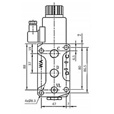 Koppelbaar 6/2 keuzeventiel 50 L/min 24V