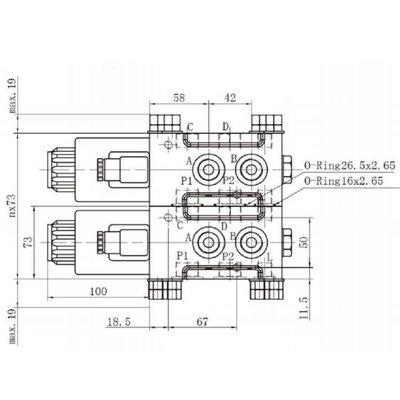 Koppelbaar 6/2 keuzeventiel 80 L/min 12V